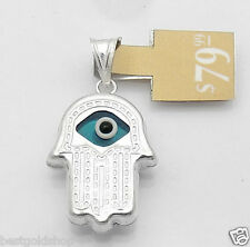 Evil Eye Hand of Fatima Hamsa Judaica Kabbalah Charm Pendant Real 925 Silver