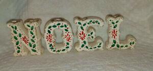 Ceramic NOEL Candle Holders White Holly Berries Vintage Christmas Japan