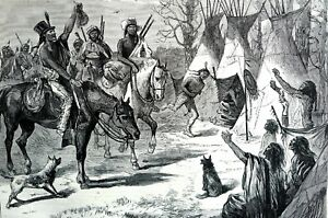 Young Bucks Indians 1873 RETURNING from HUNT w SPOILS FOOD HUNTERS Matted Print