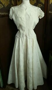 late 1940s early1950s original vintage evening prom wedding ivory dress size 8 ?
