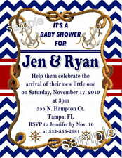 20 Nautical Baby Shower Invitations - Printed with envelopes