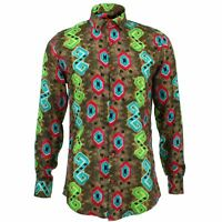 Mens Shirt Loud Originals TAILORED FIT Herringbone Brown Retro Psychedelic Fancy