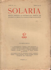 SOLARIA. ANNO SESTO - N. 4 - APRILE 1931, LETTERATURA ITALIANA RIVISTE NARRATIVA