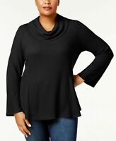 Style & Co Cowl Neck Bell Sleeve Waffle Knit Sweater Plus Sizes MSRP $56