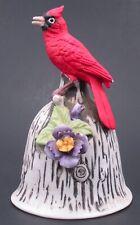 Vintage Ceramic Porcelain Red Robin Bird Flower Bell