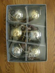 "Set of 6: Silver & Gold Christmas Mercury Glass Ball Ornaments, 3"" diameter -New"