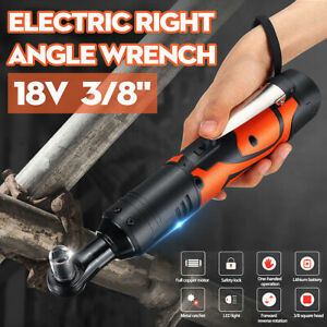 18V 3/8'' 60Nm Electric Cordless Right Ratchet Angle Wrench LED & 2 Pcs Battery