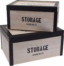 Set of 2 Retro Wood Storage Boxes With Black Metal Trims. Nestable Storage