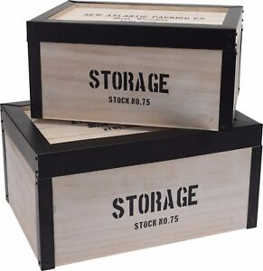 Set of 2 Retro Wood Storage Boxes With Black Metal Trims. Nestable Storage
