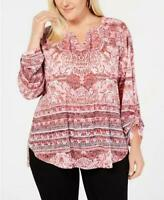 Style & Co Women Ladies Red and Pink Embellished Mixed Print Peasant Top Plus 3X