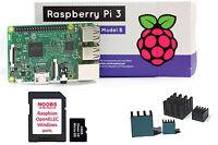 Raspberry Pi 3 Set S 64Bit 1,2 GHz QuadCore, Kühlkörper, 16GB NOOBS SD, NEU OVP