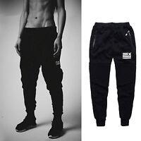 nero da uomo pantaloni corsa casual tuta sport Jogging lunghi