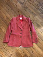 Yves Saint Laurent Womens Wool Button Up Jacket Coat Red YSL Rive Gauche Sz 40
