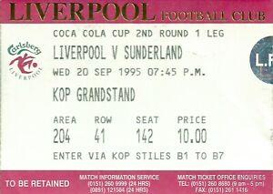 LIVERPOOL V SUNDERLAND COCA COLA CUP 2ND RND 1995 MATCH TICKET - KOP STAND