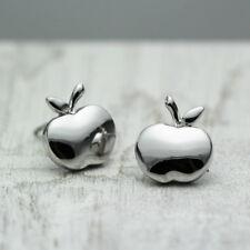 Women Girls 18K White Gold Plated Cute Apple Stud Earrings Jewelry