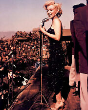 MARILYN MONROE 8x10 Photo COOL CANDID USO SHOW W ARMY