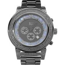 KC Diamond Men's Chronograph Date Watch w/ Genuine Black Diamonds, 2.20 ctw