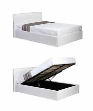 Faux Leather Ottoman Storage Bed in Black Brown or White 4ft 6 Double White No Mattress