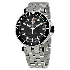 Versace V Race Diver Black Dial Mens Stainless Steel Watch VAK03 0016