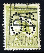 AUSTRALIA 1913 OFFICIAL 3d. Olive 'Roo Die I PUNCTURED OS Wide Crown W2 SG O5