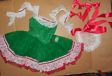 NWT Small child Faux Sequin Costume Christmas Colors German Dance Pageant