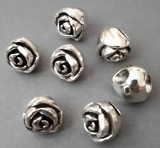 6pc-4mm big hole beads,silver tone rose flower beads,flower spacer,metal stopper