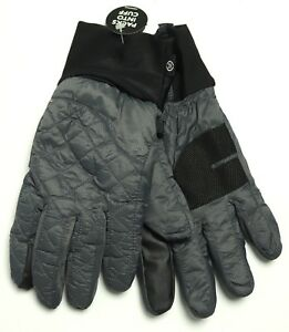 New Isotoner Signature Smartouch Sleek Heat Gray Quilted Fashion Gloves S / M