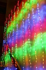 400 LED Multi Colour Wedding Curtain Backdrop Light Waterfall Functions 2.4X2.4M