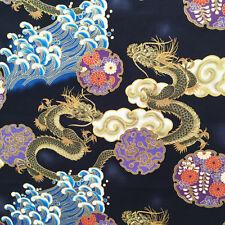 Dragons fabric, Japanese, Chinese, oriental, metallic, asian, black or red, gold