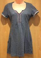 Mantaray Ladies Size 8 Tunic Top Short Sleeved T-Shirt Long Blue & Pink Pockets