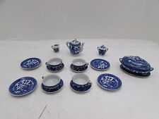 Azul y Blanco de la porcelana para niños de 18 Piezas De Té En Miniatura/Cena Ware