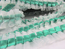 """8 yards White Organza/Satin 1"""" Pleated Ruffle Lace Trim/Sewing/Craft T25-Green"""