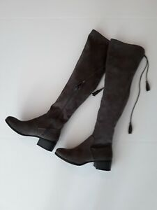 Faux Suede Drawstring Low Heel Over the Knee Boots