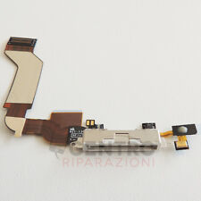 DOCK RICARICA WHITE PER APPLE IPHONE 4S 4 S FLAT CABLE CONNETTORE USB MICROFONO