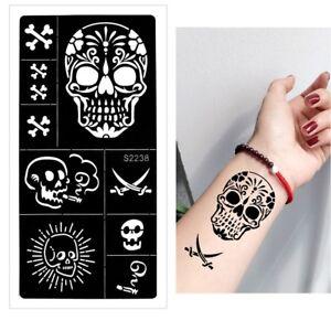 Henna Tattoo Schablone Airbrush Stencil Totenkopf Säbel Kina Dövme