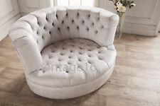 Bespoke Belvedere Voyage Mimosa Grey Fabric Swivel Armchair Love Seat Snuggler