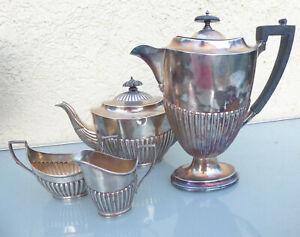 Kaffee, Tee, Milchkanne und Zuckerdose 925 er Silber  England, 1160 gr