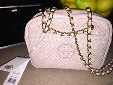 Tory Burch Women's Handbags Marion Quilted Crossbody Light Oak Beige 450$ Retail