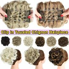 Natural Messy Curly Bun Hair Piece Scrunchie as Human Clip in Hair Extensions US