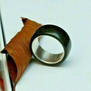 Wide hand made, Sterling silver and African Ebony ring,  size P,  any size made
