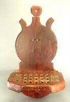 ^Antique 1800s American Folk Art Wood Spoon Rack Shelf Original Red/Brown Paint