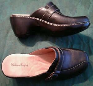 Womens MADISON COMFORT Black Leather Wedge Clogs Heels Shoes Sz 9 M