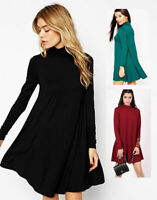Womens Turtleneck Polo Roll Neck Long Sleeve Swing Skater Ladies Dress Plus Size