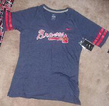 NEW MLB Atlanta Braves T Shirt Women Ladies L Large NIKE V Front NEW NWT