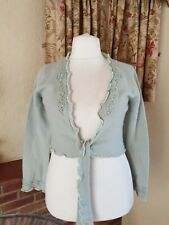 LADIES MINT GREEN LAMBSWOOL ANGORA SHRUG TIE CARDIGAN - PER UNA M&S L 16/18