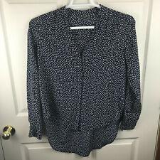 Women's Rebecca Minkoff Polka Dot Blue White 100% Silk Shirt Size S High Low Hem