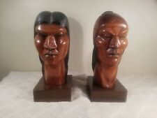 A. FRANCO Bolivian Carved Rosewood Native Portrait Busts - Art Deco 11 in. Tall