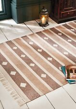 Natural Patterned Beige Brown Striped Recycled Cotton Yarn Rug 120 cm x 180 cm