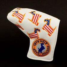 US Flag Dancing Scottie Dog Head Cover Blade Putter, TaylorMade, Odyssey, White