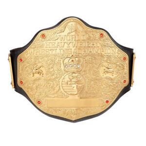 WWE BIG GOLD WORLD HEAVYWEIGHT CHAMPIONSHIP ADULT REPLICA BELT BRASS PLATED 4mm